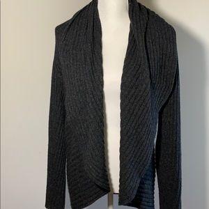 Autumn Cashmere Grey Ribbed Drape Cardigan